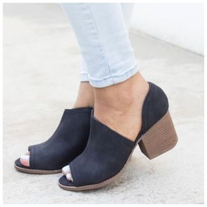 ALMOST OUT* New black peep toe distressed bootie